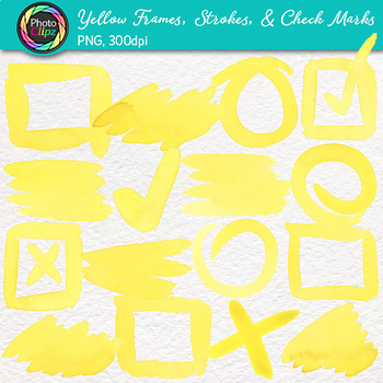 Yellow Watercolor Frames, Strokes, & Check Marks Clip Art {Page Elements}
