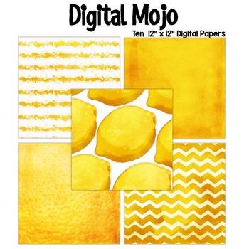 Yellow Watercolor Grunge Digital Papers (Lemon inspired)