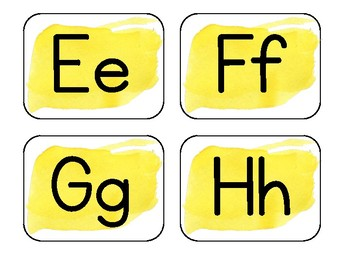 Yellow Watercolor Word Wall Alphabet