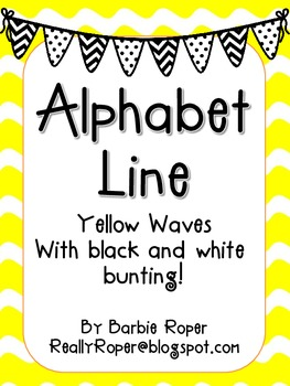 Yellow Waves with Black and White bunting Alphabet Line