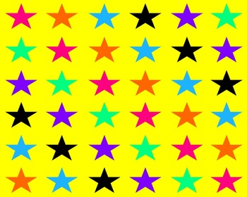 Yellow With Colorful Stars Backgrounds