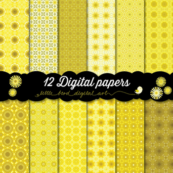 Yellow, Yellow, Yellow - 12 Digital Papers