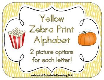 Yellow Zebra Print Alphabet Cards