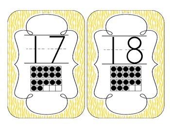 Yellow Zebra Print Number Cards 1-20