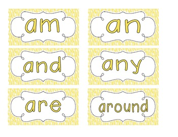 Yellow Zebra Print Word Wall Cards