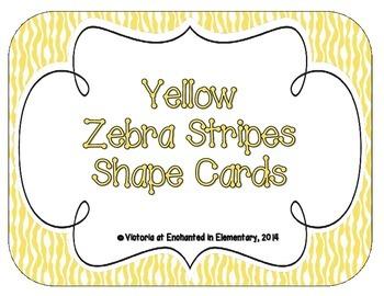 Yellow Zebra Print Shape Cards