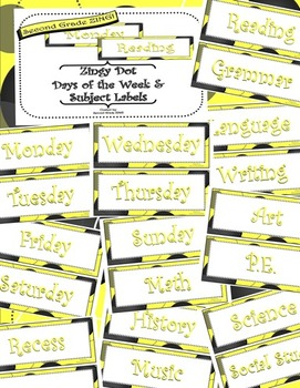 Yellow Zingy Dot Days of Week and School Subjects Classroom Display