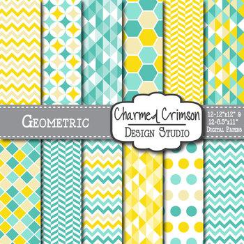 Yellow and Aqua Geometric Digital Paper 1127