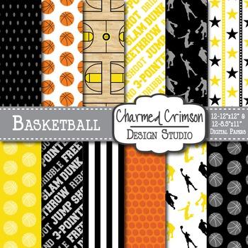 Yellow and Black Basketball Digital Paper 1299