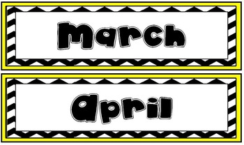Yellow and Black Chevron Calendar Months