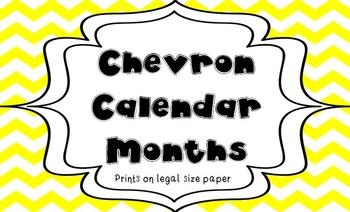 Yellow and Black Chevron Calendar Months