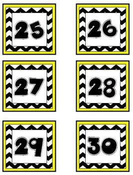 Yellow and Black Chevron Calendar Pieces