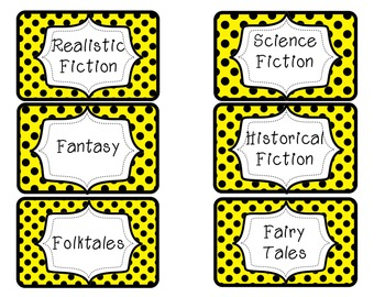 Yellow and Black Dots Library Labels