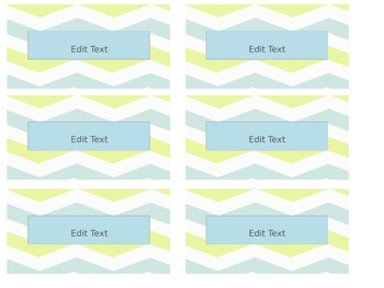 Yellow and Blue Chevron Teacher Toolbox Labels - Organization