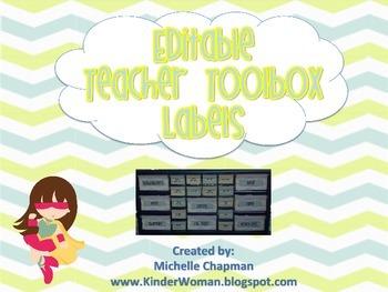 Yellow and Blue Chevron Teacher Toolbox Labels - Organization