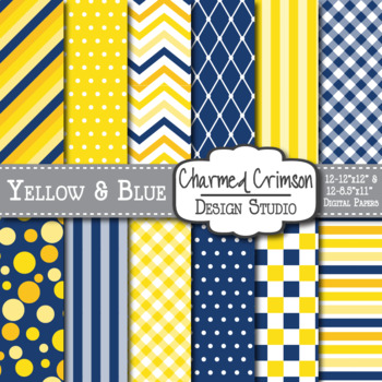 Yellow and Blue Medley Digital Paper 1075