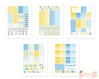 Yellow and Blue Printable Weekly Planner Stickers fits Erin Condren Planner