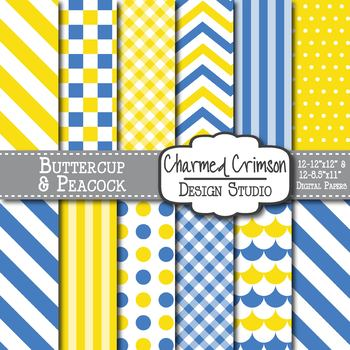 Yellow and Blue Stripes Digital Paper 1234