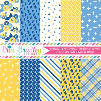 Yellow and Blues Digital Paper Pack
