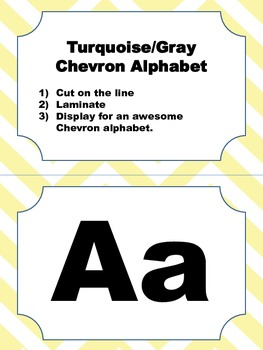 Yellow and Brown Chevron Alphabet