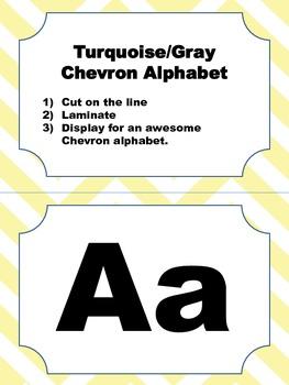 Yellow and Brown Chevron Alphabet