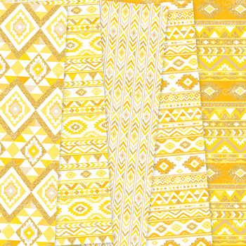 Yellow and Gold aztec Digital Paper, Boho seamless patterns backgrounds