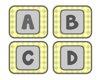Yellow and Gray: Alphabet Labels