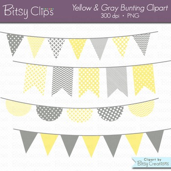 Yellow and Gray Bunting Clipart Digital Art Set Banner Flag