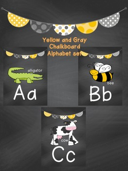 Yellow and Gray Chalkboard Alphabet Set