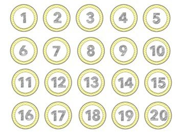 Yellow and Gray Chevron Circle Numbers 1-40