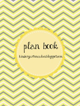 Yellow and Gray Chevron, Dots, Flowers, and Stripes Lesson Plan Book