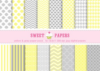 Yellow and Gray Chevron, Stripes, Quatrefoil Digital Paper