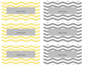 Yellow and Gray Chevron and Circles Teacher Toolbox Labels - Organization