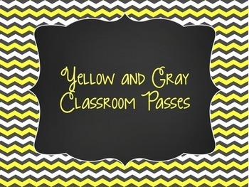 Yellow and Gray: Editable Classroom Passes
