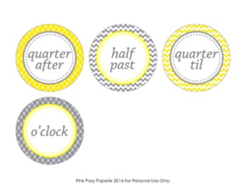 Yellow and Gray Clock Number Labels