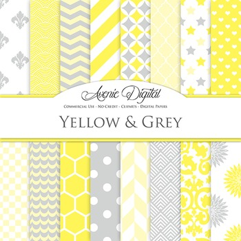 Yellow and Gray  Digital Paper patterns - backgrounds