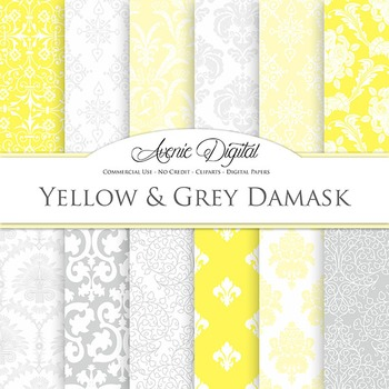 Yellow and Gray Digital Paper patterns ornate grey wedding scrapbook backgrounds