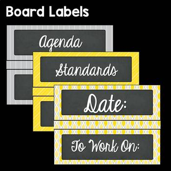 Yellow and Gray EDITABLE Classroom Decor: Labels, Signs, Banners and More