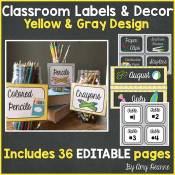 Yellow and Gray Editable Classroom Decor