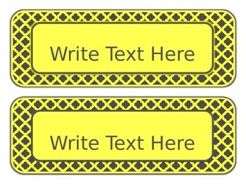 Yellow and Gray: Editable Subject Labels