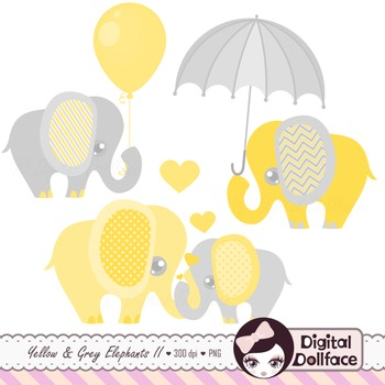 Yellow and Gray Elephant Clipart Set