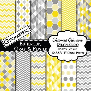 Yellow and Gray Geometric Digital Paper