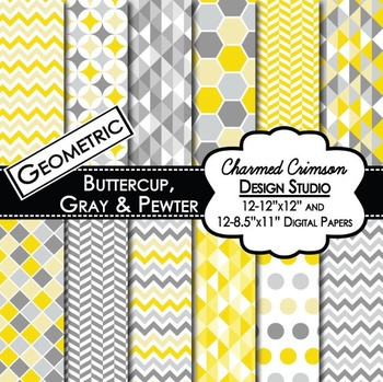 Yellow and Gray Geometric Digital Paper