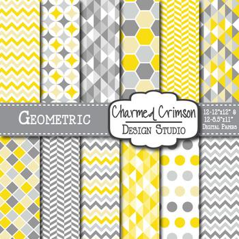Yellow and Gray Geometric Digital Paper 1157