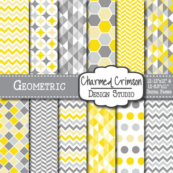 Yellow and Gray Geometric Digital Paper 1157