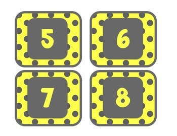 Yellow and Gray: Number Labels