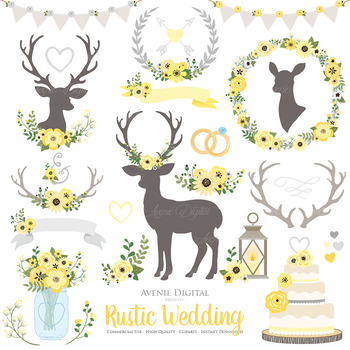 Yellow and Gray Rustic Wedding Clipart - Yellow Deer and Flower Wreaths Graphics