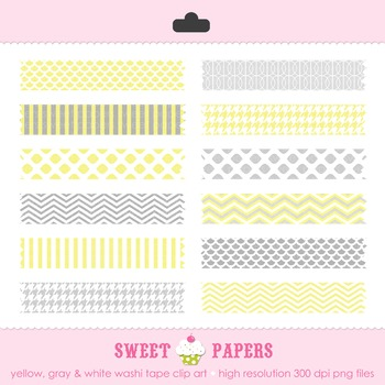 Yellow and Gray Washi Tape Digital Clip Art Set - by Sweet Papers