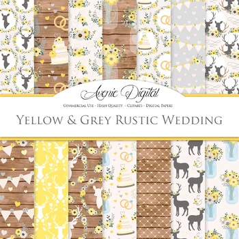 Yellow and Gray Wedding Digital Paper - Romantic Wedding Seamless Patterns