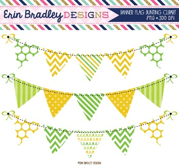 Yellow and Green Bunting Clipart